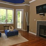 Master Suite with Fireplace and Flat Screen