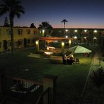 hotel courtyard at night