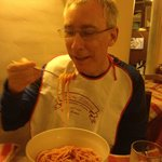 Jimmy eating tradional Roman Boccattini