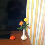 Fresh flowers everyday, a nice touch