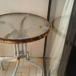 Rusty table on balcony