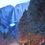  a night shot of Yosemite falls