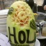 Lovely fruit carving especially for Holi