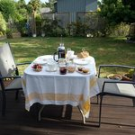 Amazing breakfast spread in the beautiful back yard