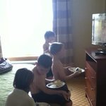 Three rooms-four kids=all meet to watch tv