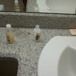 used soap products in bathroom