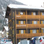  View of the hotel covered in snow