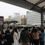  Picture taken from outside Kyoto Station main entrance. The small yellow house is Matsumoto Ryok