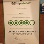  TripAdvisor certificate