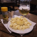 Lunch of beer and cheese