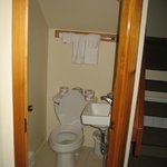 small bathroom on first floor right as you enter unit.