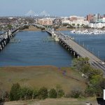 Views of the Ashley River Bridge from the Holiday Inn Riverview.