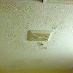 the bathroom ceiling in room 102