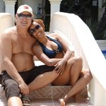 enjoying the pool with my beautiful wife