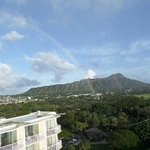 View from room of Diamond Head and rainbow