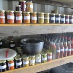 An impressive store of peserved sauces and chutneys to last them all winter