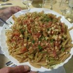  Fusilli con pesce spada melanzane pistachio e pinoli.