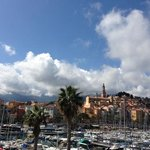 Menton from the harbour wall