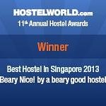 We won! Singapore's Best Hostel 2013 award =)