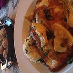 Chicken picatta and stuffed mushrooms