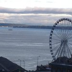 View of Ferris Wheel and Puget Sound from room