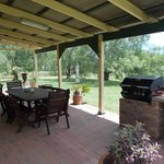 BBQ and patio set just outside the door