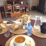 Lunch for one everyday. Soup, bread, salad, cheese plate and wine.