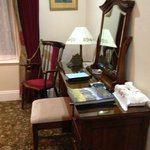 The Rose Room: Vanity/Desk area with US electrical plugs