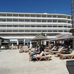 View of the rear of the hotel and Sun beds