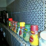 the kitchen has everything you need - including an array of spices