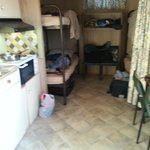 4 bunk beds and kitchen