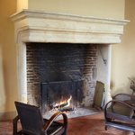 fireplace at the manor