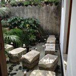 View looking out my door showing stepping stones to lobby