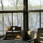 porch with a pond view in Cabin #11