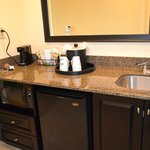 Refridgerator and coffee maker with sink