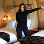  Blanche Garcia showing off her new design to one of our motel rooms