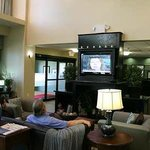 Hotel Lobby with Large TV