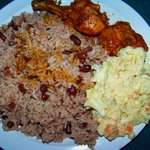Awesome dinner: stewed chicken, rice+beans, and potato salad.