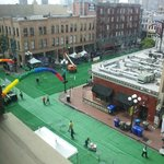 Streets covered in green astroturf for Sham-Rock
