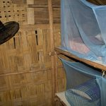 Basic mattress with mosquito nets and fan