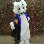  Our young son with the panto Easter Bunny :)