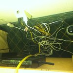  Wi-Fi Un-Accessable - Look at this rats nest of wires in the room!  No wonder there was no wi-fi