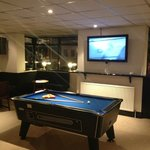 Pool table and flat screen television