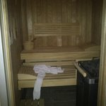 The private sauna in the suite bathroom.