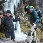 Richard and Con with one of many frozen waterfalls