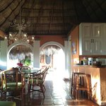 Dining room and kitchen area, in the palapa