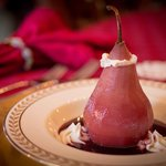  Red Wine Poached Pear with House-made Mascarpone