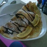Crepe with apple and cinnamon ice cream, banana and nutella!!!