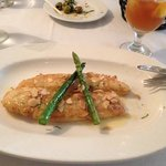 Sea bass amandine with lemon butter and grilled asparagus ... delicious!