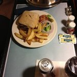 room service was tasty and they brought an extra drink!